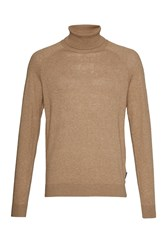 French Connection Men's Autumn Portrait Knit Roll Neck Jumper Brown