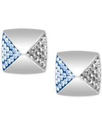 Swarovski Silver Tone Clear And Light Blue Crystal Square Stud Earrings
