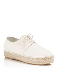 Vince Cynthia Leather Lace Up Espadrille Oxfords Cream