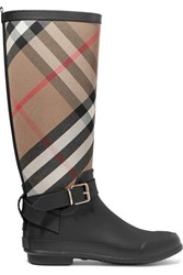 Burberry Checked Cotton Canvas And Rubber Rain Boots Black