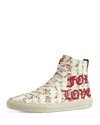 Gucci Major Blind For Love High Top Sneaker White Red White Red
