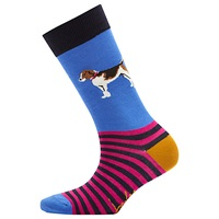 Joules Brill Bamboo Dog Print Ankle Socks Pack Of 1 Blue Multi