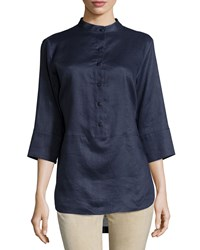 Neiman Marcus Linen 3 4 Sleeve Button Front Tunic Navy