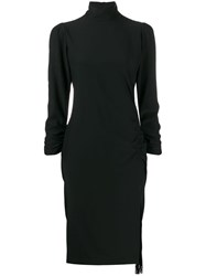 8Pm Vele Draped Detail Midi Dress Black