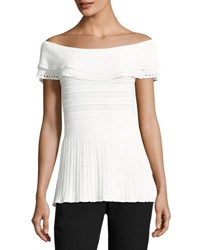 Tahari By Arthur S. Levine Off The Shoulder Peplum Blouse Ivory