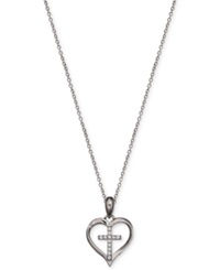 Macy's Cubic Zirconia Heart Cross Pendant Necklace In Sterling Silver