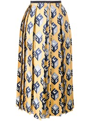 Gucci Cube Print Skirt Women Silk Cotton Viscose 42 Yellow Orange