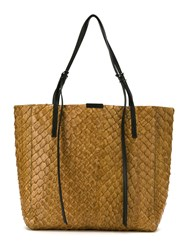Osklen Textured Tote Bag Pirarucu Skin Brown