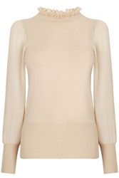 Oasis Frill Neck Sheer Sleeve Knit Neutral