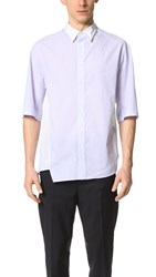 3.1 Phillip Lim Asymmetrical Short Sleeve Shirt With Displaced Seams Ticking Stripe