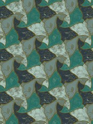 M.C.Escher Fish Printed Wallpaper Multicolor