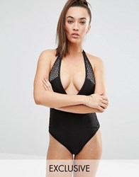 Wolf And Whistle Crochet Insert Swimsuit Black