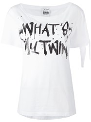 Twin Set Spray Text Print T Shirt White