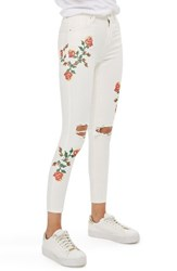 Topshop Petite Women's Jamie Embroidered Skinny Jeans White Multi