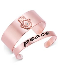 Macy's Inspired Life 2 Pc. Set Hamsa Hand And Peace Cuff Bracelets Rose Gold