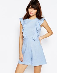 Asos Occasion Ruffle Detail Romper Light Blue