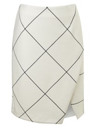 Phase Eight Ginette Check Wrap Detail Skirt Cream