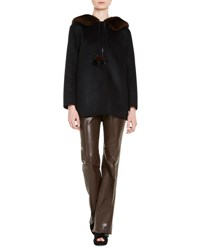 Prada Wool Blend Coat W Mink Fur Black