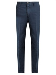 Incotex Carrot Fit Cotton Blend Chino Trousers Navy