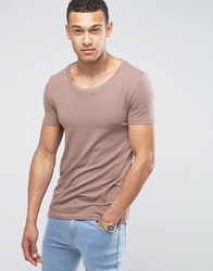 Asos Muscle Fit T Shirt With Scoop Neck And Stretch In Brown Brown