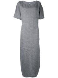 Eleventy Maxi T Shirt Dress Women Linen Flax 40 Grey