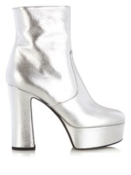 Saint Laurent Candy Metallic Leather Platform Ankle Boots Silver