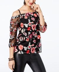 Inc International Concepts Petite Embroidered Off The Shoulder Top Created For Macy's Deep Black