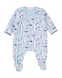 Little Marc Jacobs Allover Cartoon Print Footie Pajamas Size 3 9 Months Blue