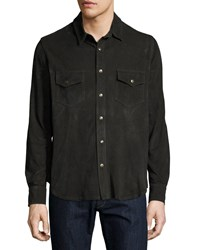 Billy Reid Suede Work Shirt Charcoal