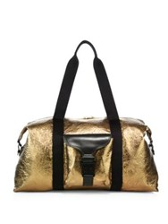 Alexander Mcqueen Foiled Leather Gym Bag Gold