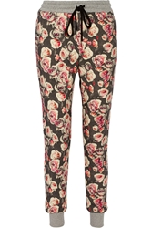 Markus Lupfer English Rose Printed Cotton Terry Track Pants Gray