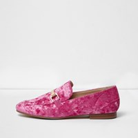 River Island Womens Bright Pink Velvet Loafers