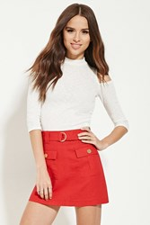 Forever 21 Belted Mini Skirt Red