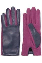 Agnelle Two Tone Wool Blend And Leather Gloves Violet
