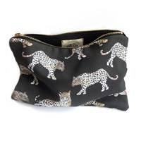 Imagination Illustrated Night Leopard Cotton Pouch Black White Brown