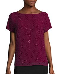 Karl Lagerfeld Short Sleeve Embellished Overlay Top Wine