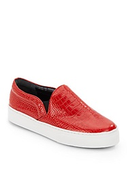 Schutz Amisha Crocodile Embossed Leather Slip On Sneakers Rosso