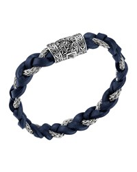 Dark Blue Leather And Sterling Silver Bracelet John Hardy