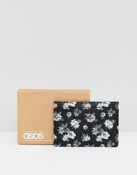 Asos Leather Card Holder In Monochrome Floral Design Black