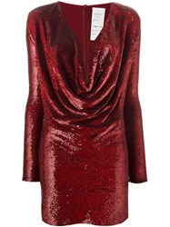 Ashish Sequined Cowl Neck Dress Red