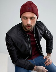 Fred Perry Logo Beanie In Red Rosewood