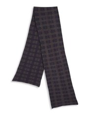 Portolano Plaid Wool Blend Scarf Navy Grey