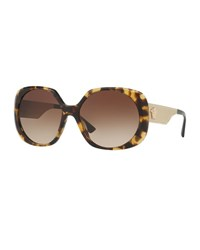Versace Gradient Embossed Butterfly Sunglasses Brown Tortoise Brown Pattern