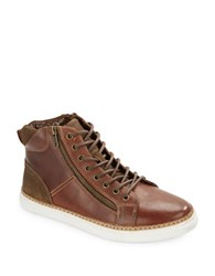 Kenneth Cole Reaction Trace Ur Step Leather High Top Sneakers Brown