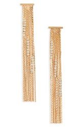 Stella Ruby Crystal And Chain Drop Earrings Gold Crystal