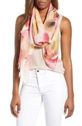 Nordstrom Eyelash Trim Print Cashmere And Silk Wrap Pink Fanning Dots
