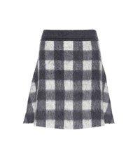 Balenciaga Wool And Mohair Blend A Line Skirt Grey