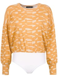 Andrea Marques Printed Cropped Top Yellow