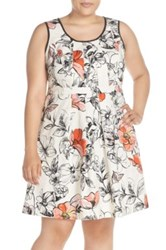 Adrianna Papell Print Scoop Neck Fit And Flare Dress Plus Size White