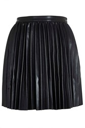 Platform Leather Pu Pleated Skirt By Goldie Black